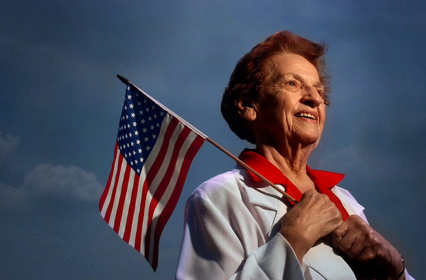 LOWER MACUNGIE - Cecilia  Ann Sulkowski was one of the first MASH nurse in the Korean War. Here she reflects on her experiences from her Country meadows retirement home as she hold an American Flag. (CHUCK ZOVKO / TMC)..