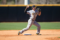 Kennesaw State Owls shortstop Kal Simmons (10) makes a throw to first base against the Winthrop Eagles at the Winthrop Ballpark on March 15, 2015 in Rock Hill, South Carolina.  The Eagles defeated the Owls 11-4.  (Brian Westerholt/Four Seam Images)