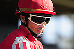 18 October 2009: Jockey Willie Martinez aboard Misleader heads out onto the Keeneland polytrack before the 4th race.