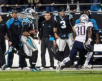 The Carolina Panthers play the New England Patriots at Bank of America Stadium in Charlotte North Carolina on Monday Night Football.  The Panthers defeated the Patriots 24-20.  Carolina Panthers quarterback Cam Newton (1), New England Patriots defensive back Duron Harmon (30)