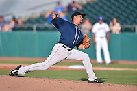 Mobile BayBears starting pitcher Edgar Garcia (35) delivers a pitch during a game against the Tennessee Smokies on May 27, 2015 in Kodak, Tennessee. The Smokies defeated the BayBears 3-2. (Tony Farlow/Four Seam Images)