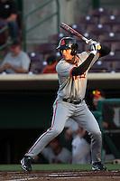 Jarrett Parker #7 of the San Jose Giants bats against the Inland Empire 66'ers at San Manuel Stadium on June 11, 2012 in San Bernardino,California.Inland Empire defeated San Jose 12-8.(Larry Goren/Four Seam Images)