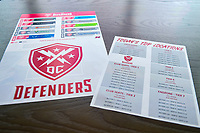 Washington, DC - Sunday JAN 26, 2020: DC Defenders  ticket information displayed at the open house at  Audi Field in Washington, DC. (Photo by Phil Peters/Media Images International)