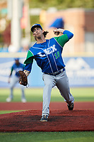 Lexington Legends starting pitcher Henry Owens (18) in action against the High Point Rockers at Truist Point on June 16, 2021, in High Point, North Carolina. The Legends defeated the Rockers 2-1. (Brian Westerholt/Four Seam Images)