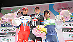 John Degenkolb (GER) Team Giant-Alpecin wins the 106th edition of the Milan-San Remo 2015 cycle race, with Alexander Kristoff (NOR) Team Katusha in 2nd place and Michael Matthews (AUS) Orica GreenEdge 3rd, San Remo, Italy. 22nd March 2015. <br /> Photo: ANSA/Luca Zennaro/www.newsfile.ie