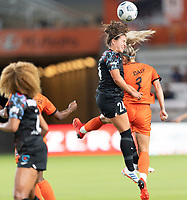 HOUSTON, TX - SEPTEMBER 10: Danielle Colaprico #24 of the Chicago Red Stars heads the ball over Rachel Daly #3 of the Houston Dash during a game between Chicago Red Stars and Houston Dash at BBVA Stadium on September 10, 2021 in Houston, Texas.