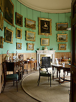 Amongst the gilt-framed paintings that grace the curved walls of the private dining room are a couple by Canaletto