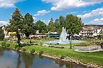 Germany, Bavaria, Lower Franconia, Bad Kissingen: Rose Garden and fountain, at river Franconian Saale | Deutschland, Bayern, Unterfranken, Bad Kissingen: Rosengarten mit Wasserfontaene, an der Fraenkischen Saale