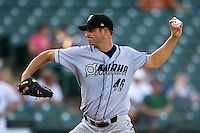 Omaha Storm Chasers pitcher Doug Davis #46 delivers during the Pacific Coast League baseball game against the Round Rock Express on July 22, 2012 at the Dell Diamond in Round Rock, Texas. The Express defeated the Chasers 8-7 in 11 innings. (Andrew Woolley/Four Seam Images).