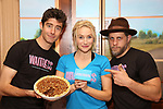 """Drew Gehling, Betsy Wolfe and Joe Tippett from the cast of """"Waitress"""" ,with the winning pie Twisted Kentucky Bourbon Pecan Pie, celebrate 'Sugar, Butter, Flour: The Waitress Pie Cookbook at The Brooks Atkinson Theatre on June 27, 2017 in New York City."""