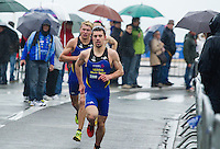 28 APR 2012 - LES SABLES D'OLONNE, FRA - Aaron Harris leads the GT Vesoul Haute-Saoneonto team onto the run during the prologue round of the French Grand Prix Series triathlon in Les Sables d'Olonne, France (PHOTO (C) 2012 NIGEL FARROW)