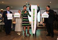 BOGOTÁ - COLOMBIA, 29-08-2017: Presentación de las vestiduras litúrgicas que serán obsequiadas al Papa Francisco para las cuatro eucarísticas que presidirá en Colombia. El obispo castrense y Director Ejecutivo de la Visita Apostólica, Monseñor Fabio Suescun Mutis, afirmó que estos ornamentos son muy importantes ya que hacen parte de la celebración del misterio de la Pascua que se hace a través de cada Misa. El Papa Francisco realiza la visita apostólica a Colombia entre el 6 y el 11 de septiembre de 2017 llevando su mensaje de paz y reconciliación por 4 ciudades: Bogotá, Villavicencio, Medellín y Cartagena. / Launch of the liturgical vestments that will be presented to Pope Francis for the four Eucharistic celebrations in Colombia. The military bishop and Executive Director of the Apostolic Visit, Monsignor Fabio Suescún Mutis, said that these ornaments are very important as they are part of the celebration Of the mystery of the Passover that is made through each Mass. Pope Francisco made the apostolic visit to Colombia between September 6 and 11, 2017, bringing his message of peace and reconciliation to 4 cities: Bogota, Villavicencio, Medellin and Cartagena Photo: VizzorImage / Jose Miguel Gómez / Prensa Episcopado Colombiano