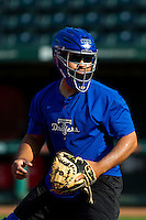 Wilin Rosario (20) of the Tulsa Drillers warms up prior to a game against the Springfield Cardinals on April 29, 2011 at Hammons Field in Springfield, Missouri.  Photo By David Welker/Four Seam Images.