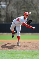 University of Houston Cougers pitcher Jared Robinson (12) during game game 1 of a double header against the Rutgers University Scarlet Knights at Bainton Field on April 5, 2014 in Piscataway, New Jersey. Rutgers defeated Houston 7-3.      <br />  (Tomasso DeRosa/ Four Seam Images)