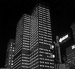 Pittsburgh PA:  View of the new corporate headquarters for the Aluminum Company of America (Alcoa) Building at night.