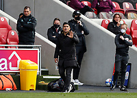 1st May 2021; Brentford Community Stadium, London, England; English Football League Championship Football, Brentford FC versus Watford; Watford Manager Xisco Munoz shouting instructions to this players from the touchline