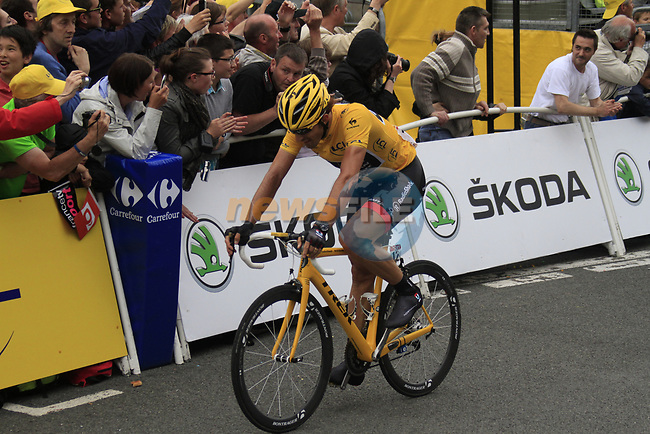 Yellow Jersey race leader Fabian Cancellara (SUI) Radioshack-Nissan finishes in 4th place at the end of Stage 3 of the 99th edition of the Tour de France 2012, running 197km from Orchies to Boulogne-sur-Mere, France. 3rd July 2012.<br /> (Photo by Eoin Clarke/NEWSFILE)