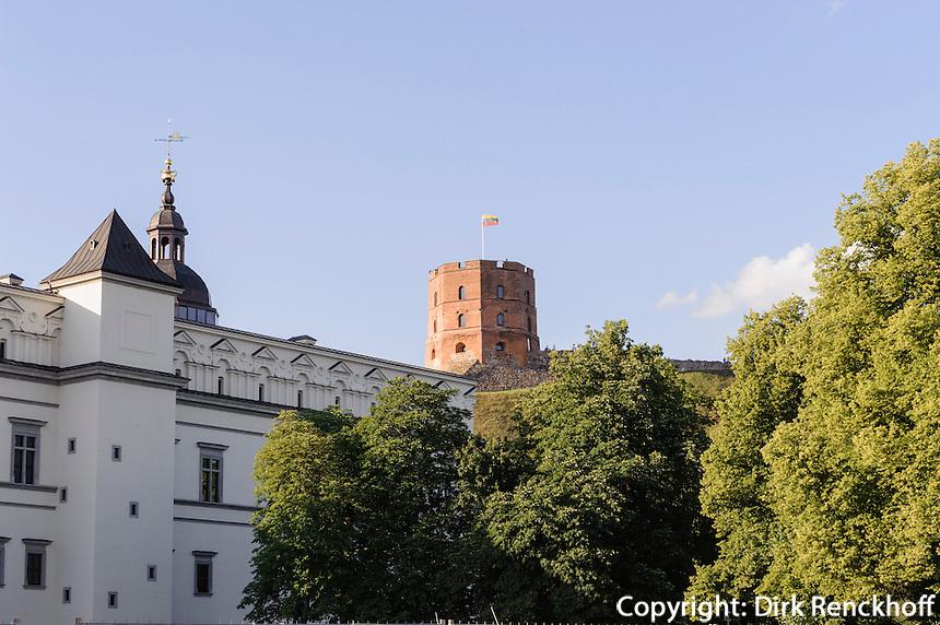 Großfürstenpalast  und  Gediminas-Turm in Vilnius,  Litauen, Europa, Unesco-Weltkulturerbe