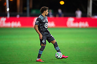 LAKE BUENA VISTA, FL - AUGUST 06: Hassani Dotson #31 of Minnesota United FC dribbles the ball during a game between Orlando City SC and Minnesota United FC at ESPN Wide World of Sports on August 06, 2020 in Lake Buena Vista, Florida.