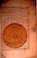 World Civilization:  Islamic Technology--Drawing of the orbit of the planet Mercury on April 25, 1384, birthdate of Iskandar Sultan, from a nativity book, 1411, Iran, Timurid Dynasty.