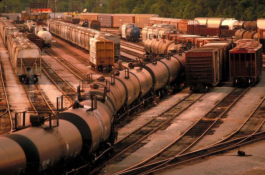 String of Tank Cars in Port Terminal Rail Yard - Port of Houston. Houston Texas USA Port Terminal Rail Yard.