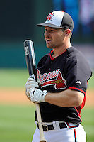 Infielder Phil Gossenin (11) of the Atlanta Braves before a Spring Training game against the New York Yankees on Wednesday, March 18, 2015, at Champion Stadium at the ESPN Wide World of Sports Complex in Lake Buena Vista, Florida. The Yankees won, 12-5. (Tom Priddy/Four Seam Images)