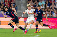 ORLANDO, FL - MARCH 05: Millie Bright #6 of England defends Carli Lloyd #10 of the United States during a game between England and USWNT at Exploria Stadium on March 05, 2020 in Orlando, Florida.