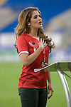 Miss Wales 2010 Courtenay Hamilton singing the national anthem..Wales v Norway Vauxhall international friendly match at the Cardiff City Stadium in South Wales..Editorial use only.