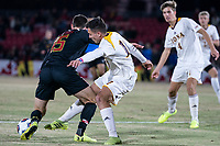 COLLEGE PARK, MD - NOVEMBER 21: Tomas Jamett #17 of Iona tackles Eric Matzelevich #15 of Maryland during a game between Iona College and University of Maryland at Ludwig Field on November 21, 2019 in College Park, Maryland.