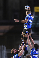 19th February 2021; Recreation Ground, Bath, Somerset, England; English Premiership Rugby, Bath versus Gloucester; Taulupe Faletau of Bath wins the lineout ball