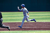 Duke Blue Devils left fielder RJ Schreck (40) rounds the bases following a home run against the Wright State Raiders in NCAA Regional play on Robert M. Lindsay Field at Lindsey Nelson Stadium on June 5, 2021, in Knoxville, Tennessee. (Danny Parker/Four Seam Images)