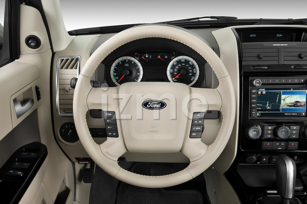 Steering wheel view of a 2009 Ford Escape Hybrid