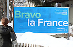 World Economic Forum (WEF) - Davos 2020. Bravo la France poster near the Congress Centre during the World Economic Forum (WEF) annual meeting in Davos, on January 21, 2020.