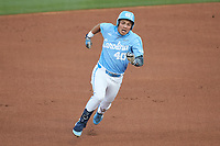 Angel Zarate (40) of the North Carolina Tar Heels hustles towards third base against the South Carolina Gamecocks at Truist Field on April 6, 2021 in Charlotte, North Carolina. (Brian Westerholt/Four Seam Images)