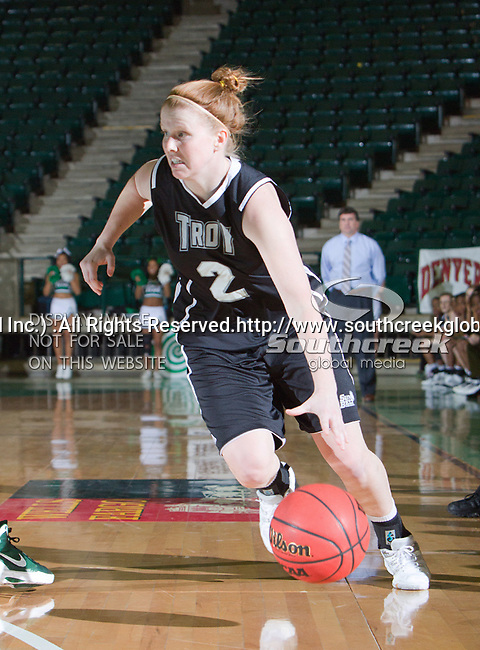 Troy Trojans guard Sophie Kleeman (2) in action during the game between the Troy Trojans and the University of North Texas Mean Green at the North Texas Coliseum,the Super Pit, in Denton, Texas. UNT defeats Troy 57 to 36.