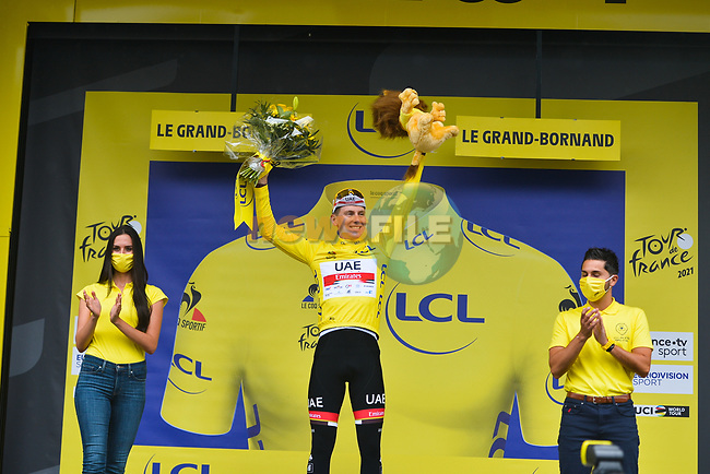 Tadej Pogacar (SLO) UAE Team Emirates takes over the race leaders Yellow Jersey at the end of Stage 8 of the 2021 Tour de France, running 150.8km from Oyonnax to Le Grand-Bornand, France. 3rd July 2021.  <br /> Picture: A.S.O./Charly Lopez | Cyclefile<br /> <br /> All photos usage must carry mandatory copyright credit (© Cyclefile | A.S.O./Charly Lopez)
