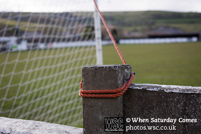 Bacup Borough 4 Holker Old Boys 1, 25/04/2016. Brain Boys West View Stadium, NorthWest Counties League Division One. A rope securing one of the ropes at the Brain Boys West View Stadium before Bacup Borough play Holker Old Boys in a NorthWest Counties League division one fixture. Formed as Bacup in 1879, the club moved into their current home in 1889 and have been known as Bacup Borough since the 1920s, apart from a brief recent spell when they added the name Rossendale to their name. With both teams challenging for play-off places, Bacup Borough won this fixture by 4-1, watched by a crowd of 50. Photo by Colin McPherson.