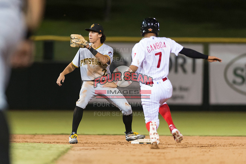 Surprise Saguaros shortstop Cole Tucker (2), of the Pittsburgh Pirates organization, covers second base on a stolen base attempt by Arquimedes Gamboa (7) during an Arizona Fall League game against the Scottsdale Scorpions at Scottsdale Stadium on October 15, 2018 in Scottsdale, Arizona. Surprise defeated Scottsdale 2-0. (Zachary Lucy/Four Seam Images)