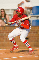 Michael Swinson #10 of the Johnson City Cardinals squares to bunt versus the Burlington Royals at Howard Johnson Stadium June 27, 2009 in Johnson City, Tennessee. (Photo by Brian Westerholt / Four Seam Images)