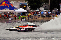 "13-14 June, 2009, APBA Inboards, Walled Lake, Novi, MI. USA.Buster Graham, A-66 ""Mr. Bud III"", 2.5 Mod hydroplane.©F. Peirce Williams 2009 USA.F.Peirce Williams.photography.ref: RAW (.NEF) File Available"