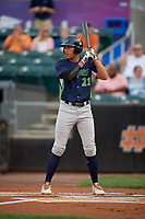 Vermont Lake Monsters Dustin Harris (21) at bat during a NY-Penn League game against the Aberdeen IronBirds on August 19, 2019 at Leidos Field at Ripken Stadium in Aberdeen, Maryland.  Aberdeen defeated Vermont 6-2.  (Mike Janes/Four Seam Images)