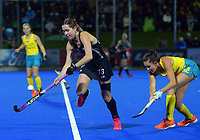 NZ's Samantha Charlton in action during the Sentinel Homes Trans Tasman Series hockey match between the New Zealand Black Sticks Women and the Australian Hockeyroos at Massey University Hockey Turf in Palmerston North, New Zealand on Tuesday, 1 June 2021. Photo: Dave Lintott / lintottphoto.co.nz
