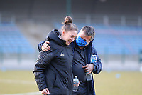 Head coach Audrey Demoustier of Woluwe and team representative Alain Pereira Batista of KRC Genk pictured before a female soccer game between FC Femina White Star Woluwe and KRC Genk on the third matchday of play off 2 in the 2020 - 2021 season of Belgian Scooore Womens Super League , Friday 23 th of April 2021  in Woluwe , Belgium . PHOTO SPORTPIX.BE | SPP | SEVIL OKTEM