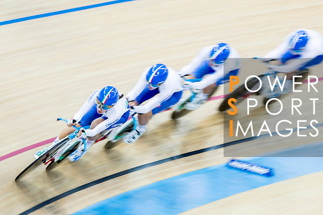 The team of Italy with Elisa Balsamo, Simona Frapporti, Francesca Pattaro and Silvia Valsecchi compete in the Women's Team Pursuit - Qualifying as part of the 2017 UCI Track Cycling World Championships on 12 April 2017, in Hong Kong Velodrome, Hong Kong, China. Photo by Chris Wong / Power Sport Images