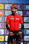 Philippe Gilbert (BEL) Lotto-Soudal at sign on before the start of the 76th edition of Omloop Het Nieuwsblad 2021 running 200km from Gent to Ninove, Belgium. 27th February 2021  <br /> Picture: Serge Waldbillig | Cyclefile<br /> <br /> All photos usage must carry mandatory copyright credit (© Cyclefile | Serge Waldbillig)