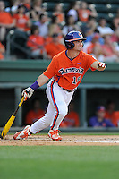 Center fielder Tyler Slaton (18) of the Clemson Tigers bats in a game against the Furman Paladins on Tuesday, May 12, 2015, at Fluor Field at the West End in Greenville, South Carolina. Clemson won, 23-15. (Tom Priddy/Four Seam Images)