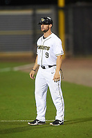 UCF Knights coach Ryan Breen (9) during a game against the Siena Saints on February 17, 2017 at UCF Baseball Complex in Orlando, Florida.  UCF defeated Siena 17-6.  (Mike Janes/Four Seam Images)
