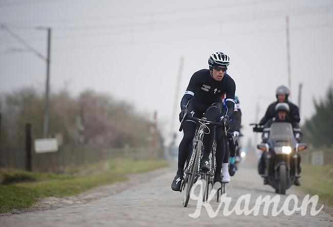 Paris-Roubaix 2013 RECON..Iljo Keisse (BEL) leading the OPQS recon.