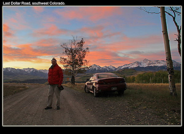 My motel room while photographing the fall season. Just me, AM radio and howling coyotes. Telluride, Colorado.