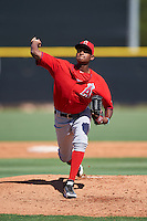 Los Angeles Angels of Anaheim pitcher Jose Soriano (66) during an Instructional League game against the Colorado Rockies on October 6, 2016 at the Tempe Diablo Stadium Complex in Tempe, Arizona.  (Mike Janes/Four Seam Images)
